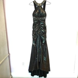 CCO Cinderella Metallic Silver Halter Formal Dress